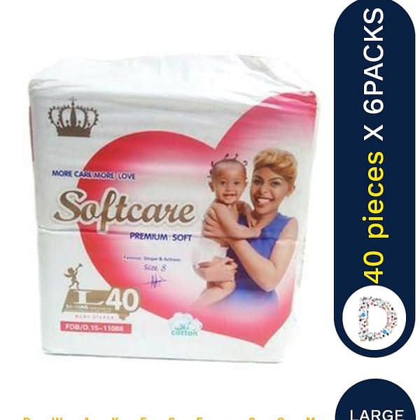 SOFTCARE DIAPERS LARGE 40 X 6 PACKS