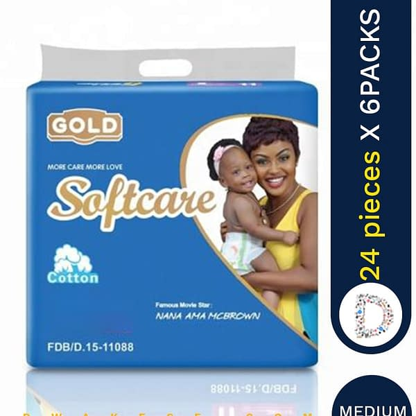 SOFTCARE DIAPERS MEDIUM 24 X 6 PACKS