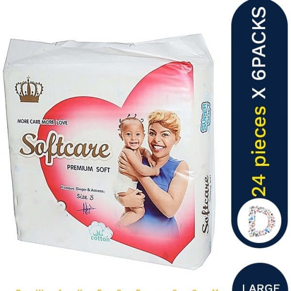 SOFTCARE DIAPERS LARGE 24 X 6 PACKS